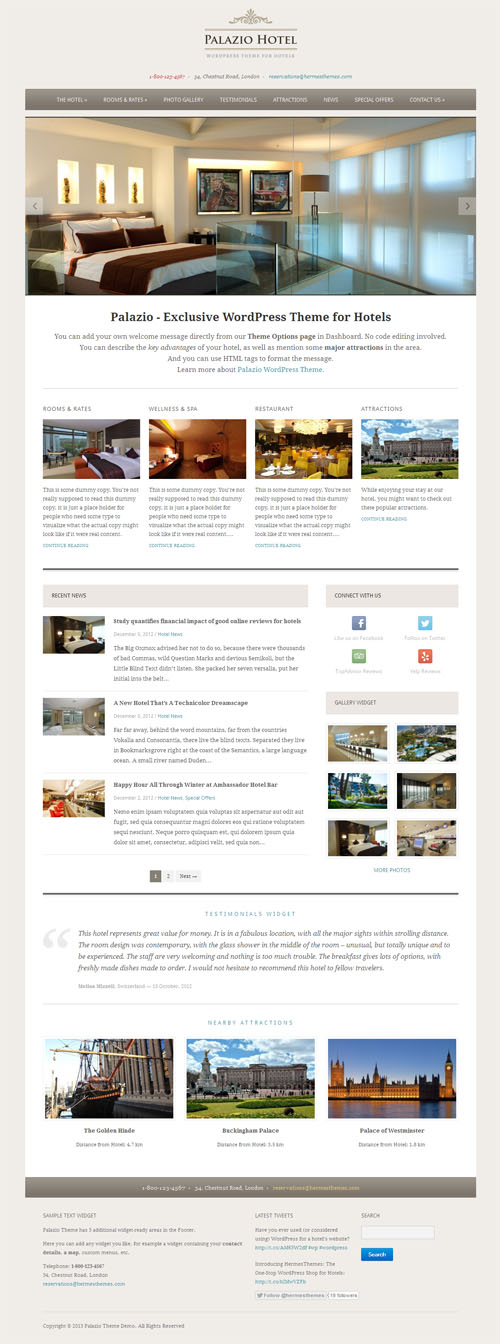 Palazio Hotel WordPress Theme