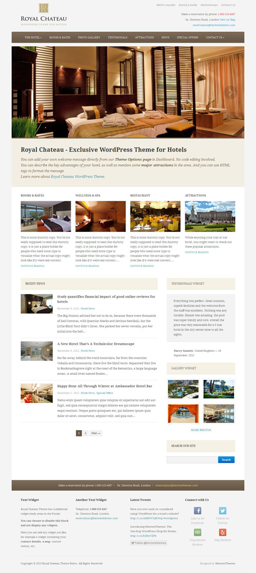 Royal Chateau Hotel WordPress Theme