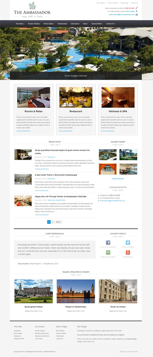 The Ambassador Responsive Hotel WordPress Theme
