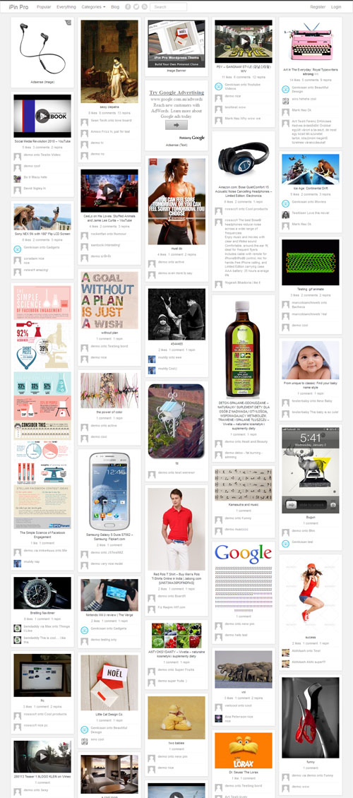 Pinterest Clone WordPress Theme