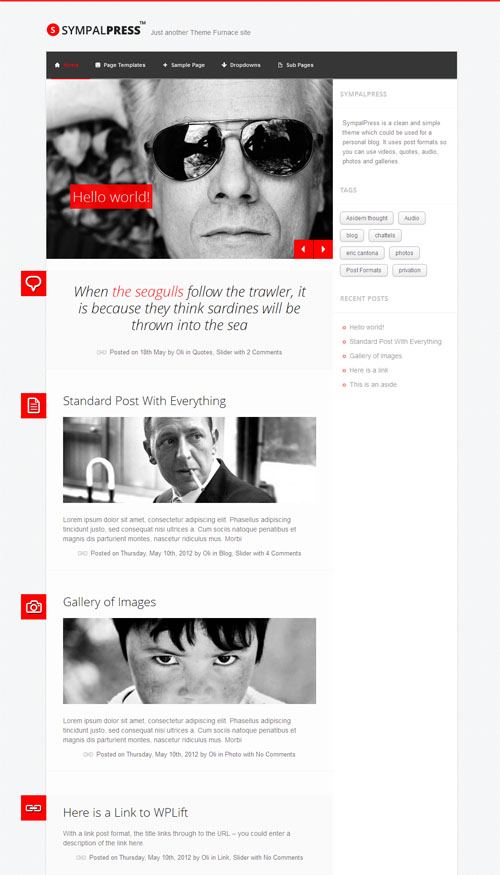 Sympal Press Personal Blog WordPress Theme