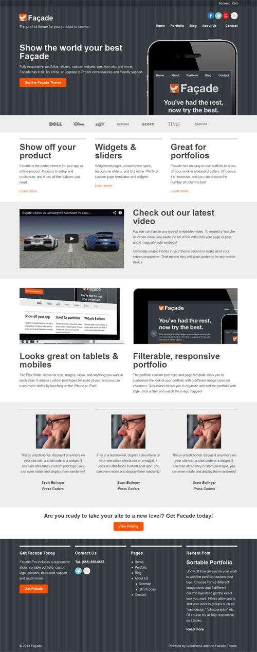 facade wordpress theme