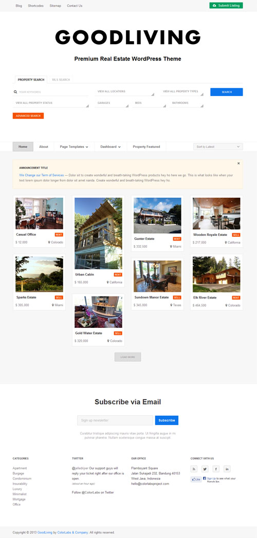 Good Living Real Estate WordPress Theme