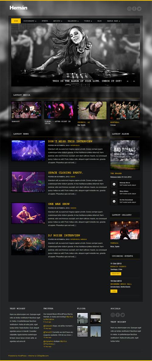 hernan Mobile Ready Music WordPress Theme