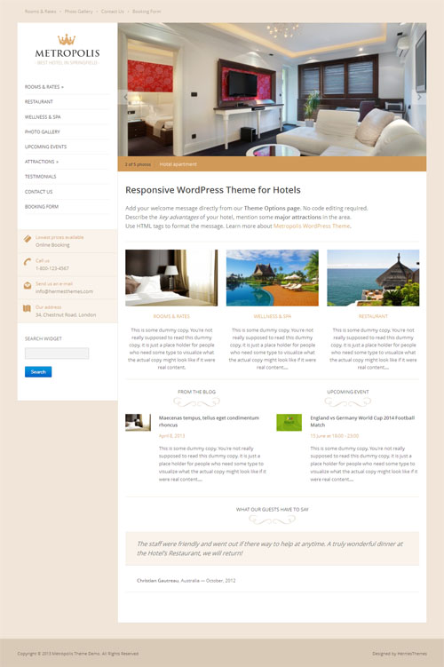 metropolis Hotel WordPress Theme