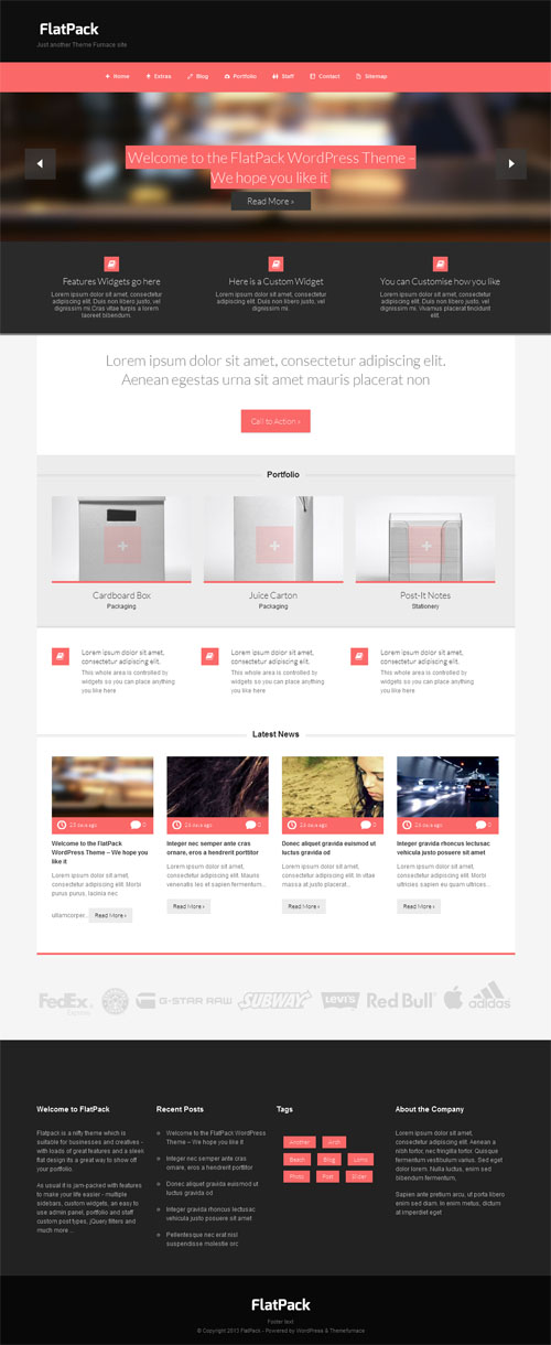 Flat Pack Business Portfolio WordPress Theme