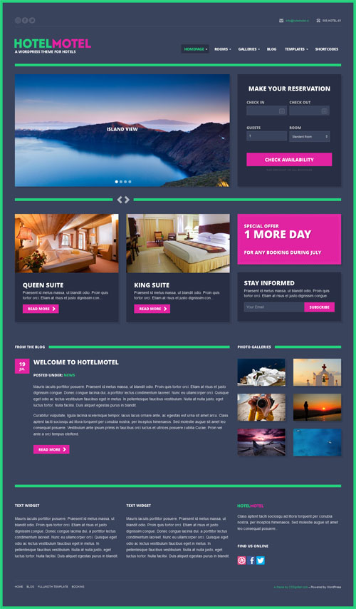 Hotel Motel WordPress Theme