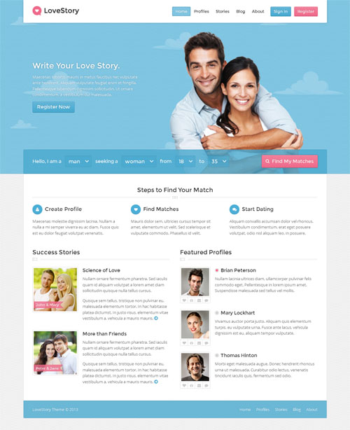 best dating website headers and footers