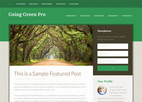 Going Green Pro Responsive WordPress Theme