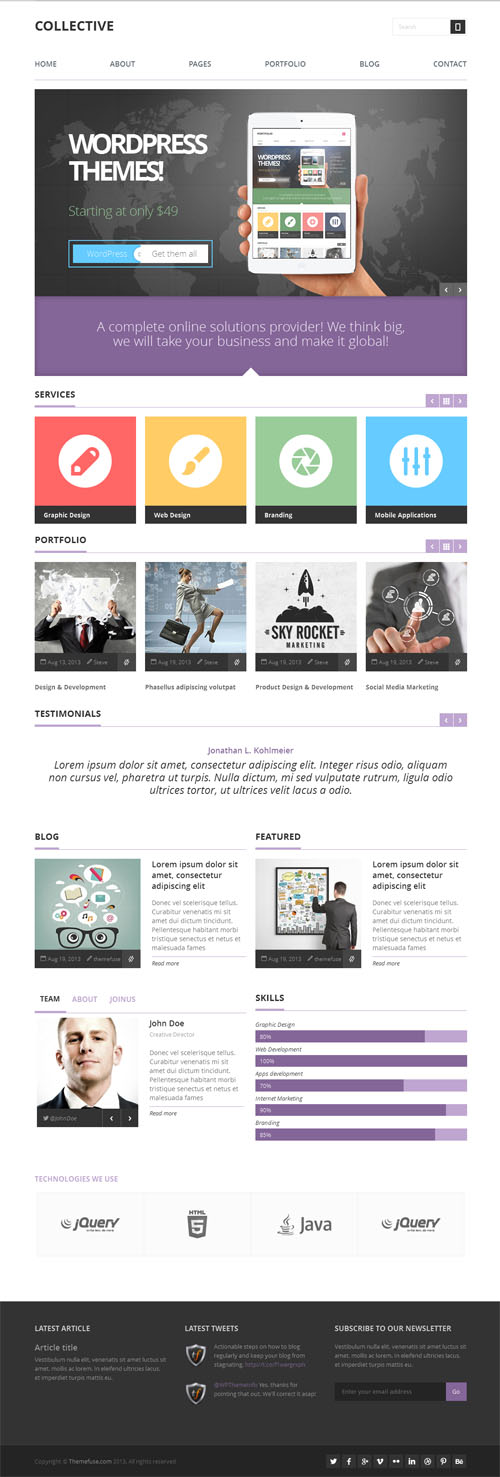 40 best corporate business wordpress themes 2018 collective is a clean and professional multipurpose business wordpress theme ideal for business and agency websites portfolio sites or even personal accmission Image collections