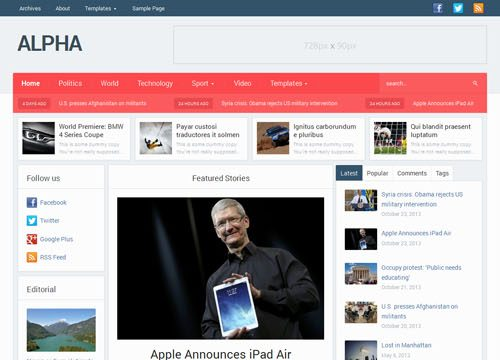 Alpha Magazine & Newspaper WordPress Theme