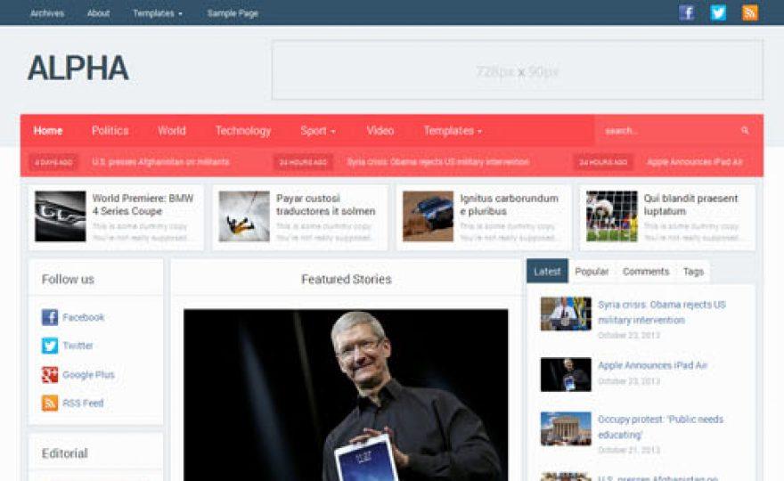 Alpha Magazine & Newspaper WordPress Theme