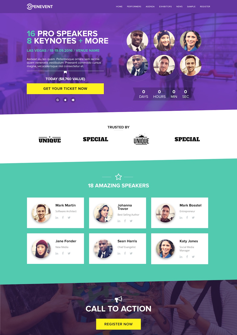 ... advanced event management, social media integration, countdown timer, ticket sales functionality integration with EventEspresso and Gravity Forms, ...