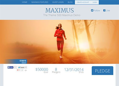 500 Maximus – Single Project Crowd Funding Website WordPress Theme