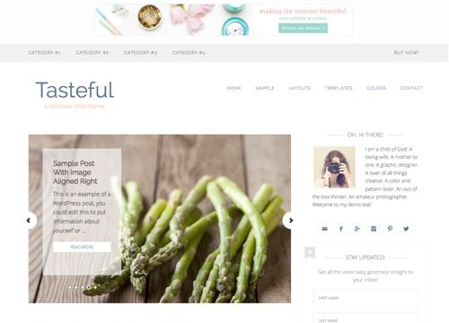 Tasteful Food Blog WordPress Theme