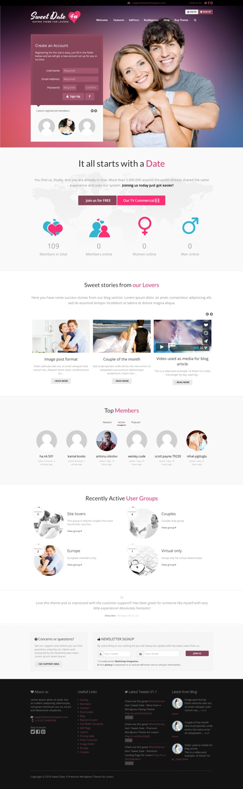 dating website template wordpress theme To create a dating website using wordpress, you need to find one of the best dating theme with a features that will make your work easier sweetdate is one of the best premium dating wordpress theme packaged with great features, beautiful user interface design and intuitive administration panel with tons of options.