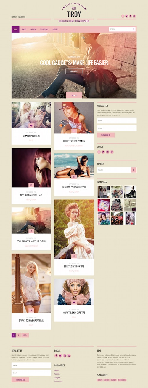 Troy: Blogging WordPress Theme