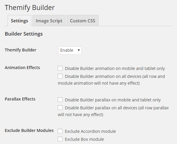 Themify Builder Settings