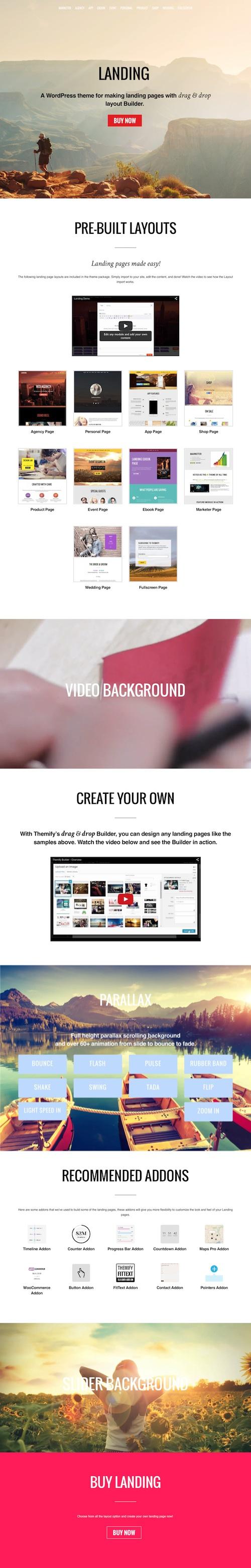 Landing Page WordPress Theme with Drag & Drop Layout Builder