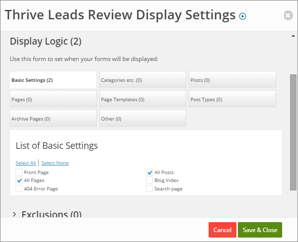 Thrive Leads Display Settings