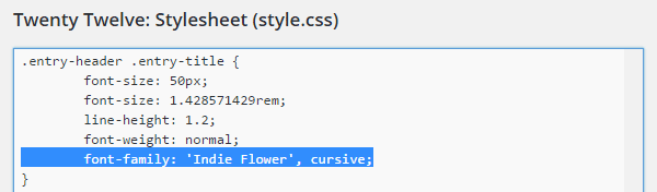 Add Google Font CSS