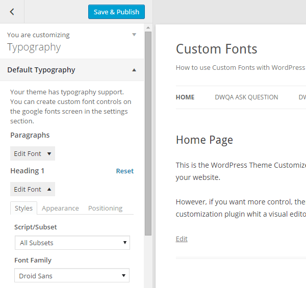 Easy Google Fonts Customizer