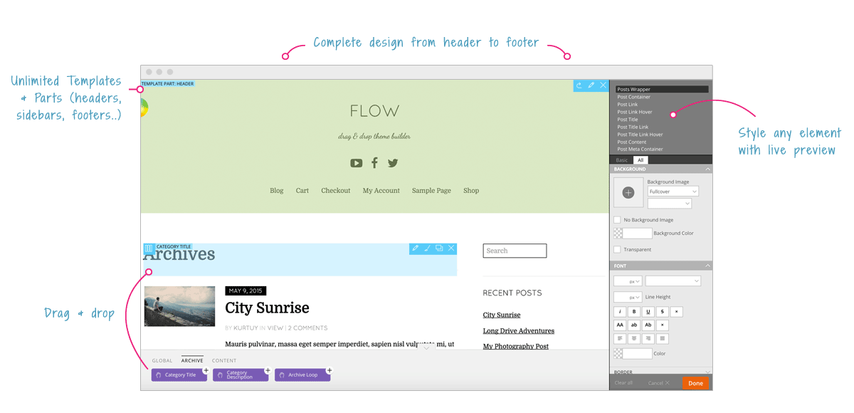 Themify Flow Review User Interface