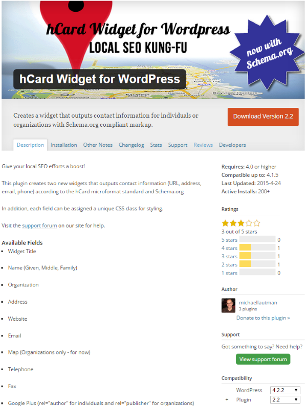 hCard Widget for WordPress