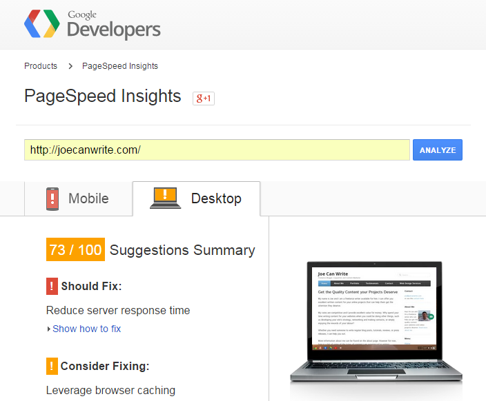 Google PageSpeed Desktop Before