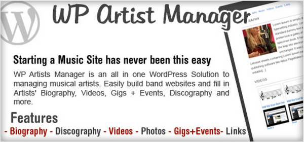WordPress Artist Band Manager