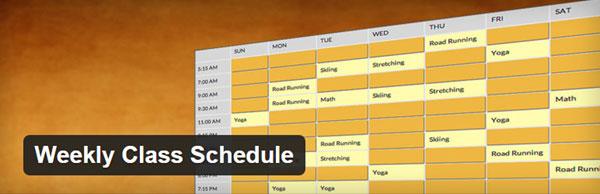 Personal Trainer Website Weekly Class Schedule