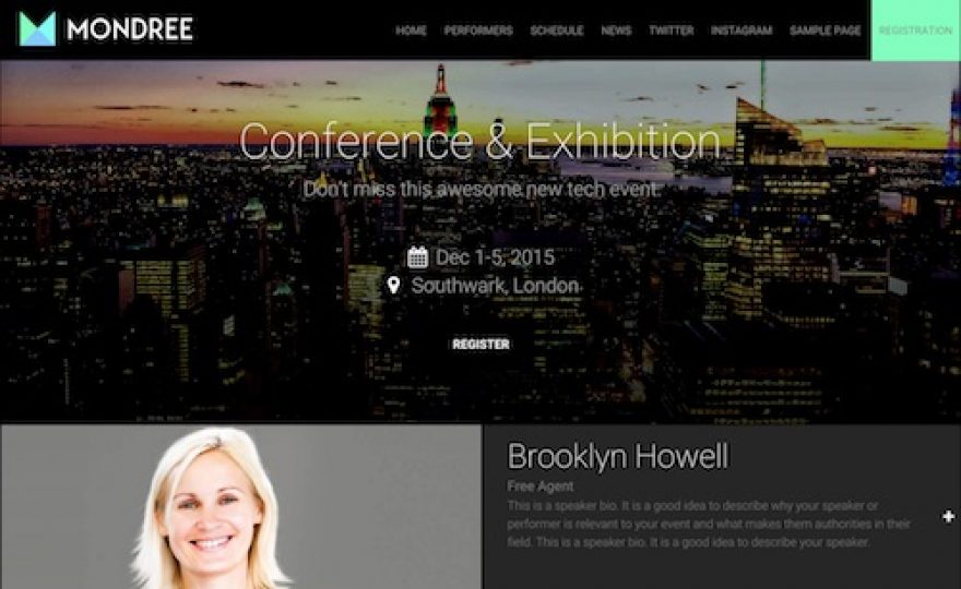 Mondree: Event Management WordPress Theme