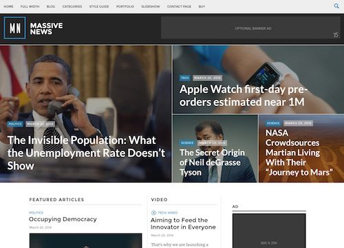 Massive News WordPress Theme