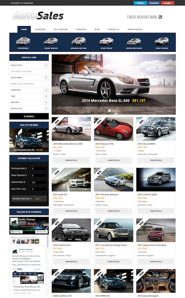 Auto Sales WordPress Theme