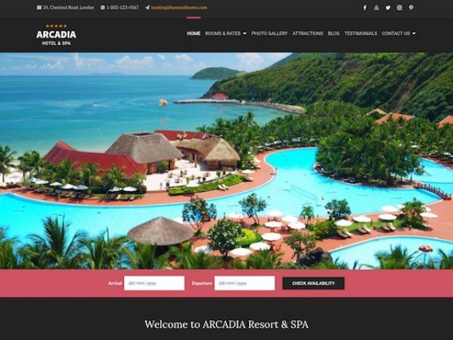 Arcadia Hotel WordPress Theme