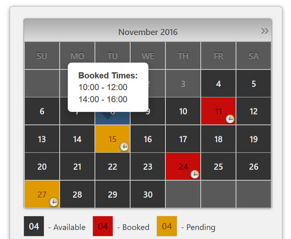 Booking Caendar