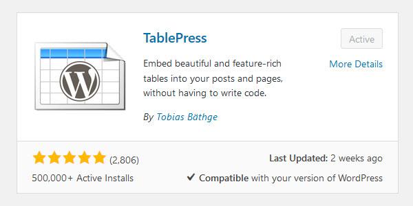 Install TablePress