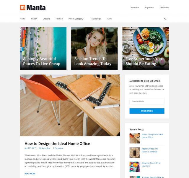 Manta WordPress Theme