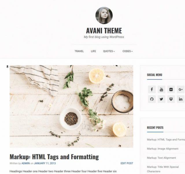 Avani Blog WordPress Theme