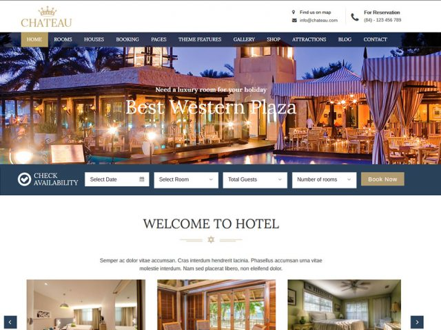 Chateau Accommodation Booking WordPress Theme