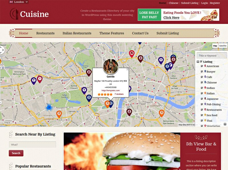Create A Food Directory, Or Directory For Food Joints, Diners, Restaurants,  Bistros And Cafe Using This Food WordPress Theme. Cuisine Is A Directory  Based ...